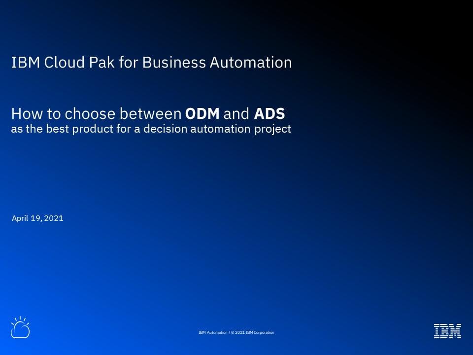 Choosing Between ODM and ADS